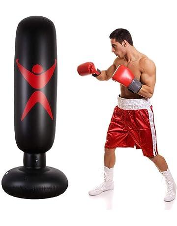 155cm fridaymonga Saco De Boxeo Inflable,Columna De Boxeo Inflable Fitness Saco De Boxeo De Pie Bolsa De Arena Inflable con Columna De Vaso para Ni/ños Adultos 145