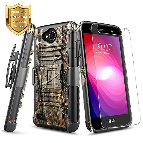 LG X Power 2 (M320)/Fiesta 2 (L163BL)/X Charge (M322)/Fiesta LTE/K10 Power Case w/[Tempered Glass Screen Protector], NageBee Heavy Duty [Belt Clip Holster] Kickstand Shock Proof Case - Camo Camo Cell Phone Accessories