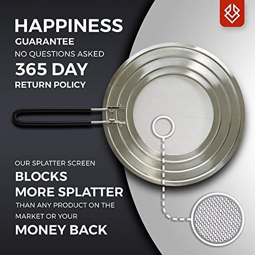 Compra Splatter Screen Guard with Folding Soft Silicone Handle and Stainless Steel Universal Lid for Pots and Frying Pans by FOXEL en Amazon.es