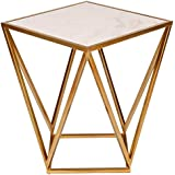 Kate and Laurel Maia Metal Side Accent Table with Marble Top, Gold