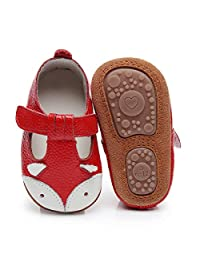 HONGTEYA Baby Boys Girls Fox Mary Jane Sandals Moccasins Shoes Rubber Sole Crib Toddler Leather Prewalker