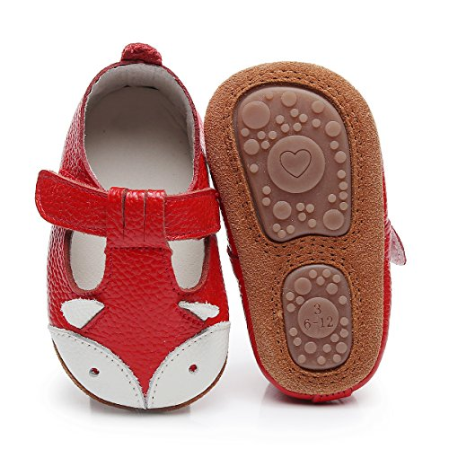 HONGTEYA Baby Boys Girls Fox Mary Jane Sandals Moccasins Shoes Rubber Sole Crib Toddler Leather Walking Prewalker (6-12 Months/US 5.5/4.92