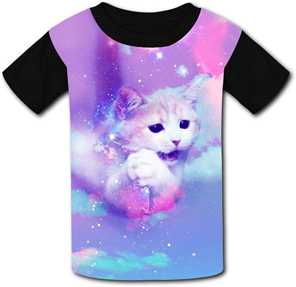 Kids Rainbow Cat Fly O-Neck T Shirts for Fashion Children Boys Girls Tee Shirt