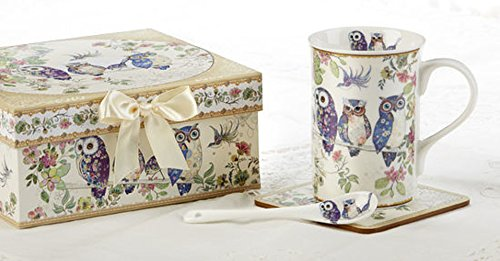 Delton 4.9 Inches Mug-Coaster-Spoon Set,Blue Owl