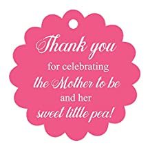 100 PCS Baby Shower Favors Gift Paper Hang Tags- Thank You For Celebrating The Mother To Be & Her Sweet Little Pea!