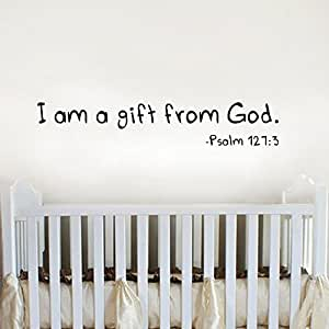I am a gift from God - Baby Nursery Scripture Vinyl Lettering Wall Words Decal Bible Verse (Black, Large)