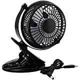 Glamouric Clip on Desk Fan, 2 Speeds Nice Wind, 360 Degree Rotation Clip-on Portable Quiet Your Personal Cooling Device USB Powered, Black