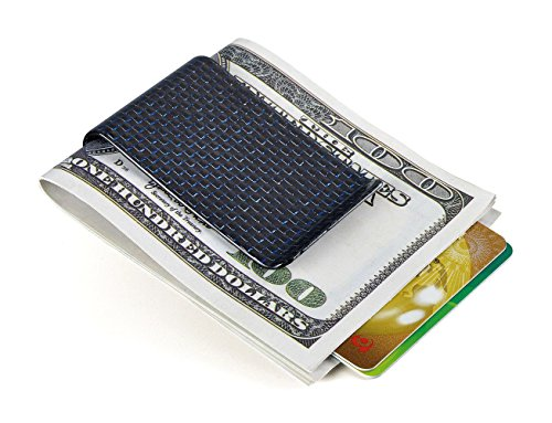 Carbon fiber wallet Money Clip Credit Card holder-CL CARBONLIFE Clips for men Blue (Smart Money Clip Lite)