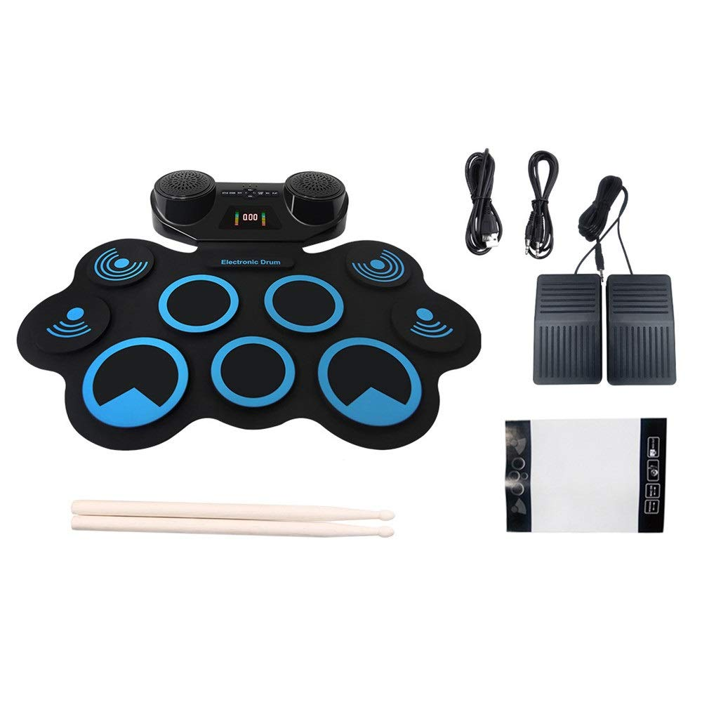 Electronic Drum Kit MIDI Portable Roll Up Drum Kit 9 Silicon Pads Practice Electronic Drum Set With Headphone Jack Built-in Stereo Speaker Sustain Pedals Drum Sticks Recording Playback Fu by Crystalzhong-muin