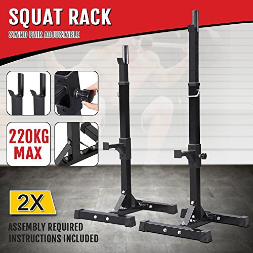 Yaheetech Pair of Adjustable Squat Rack Standard Solid Steel Squat Stands Barbell Free Press Bench Home Gym Portable Dumbbell Racks Stands 44''-70'' by Yaheetech (Image #6)