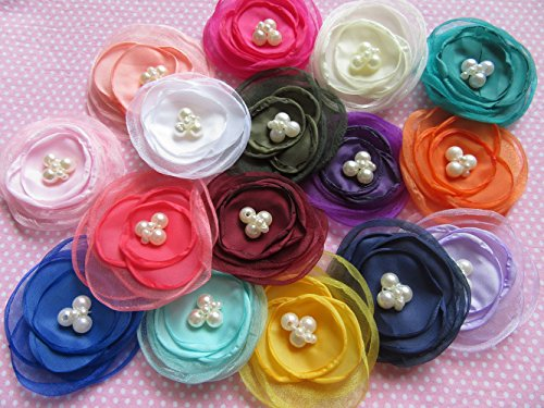 Fabric Scrapbooking Embellishments (YYCRAFT Pack Of 16 Organza Fabric 2.5