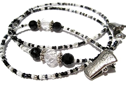 ATLanyards Black, Gray, White and Silver Mix - Beaded Eyeglass Chain With Clips