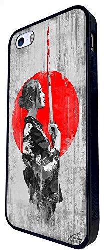 1101 - Cool Fun Samurai Sword Japanese Costume Art Illustration Design iphone SE - 2016 Coque Fashion Trend Case Coque Protection Cover plastique et métal - Noir