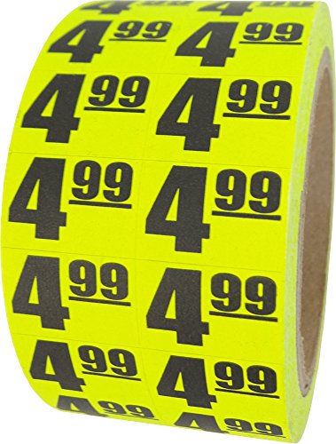 $4.99 In-Store Use Day-Glo Yellow Display Labels 3/4