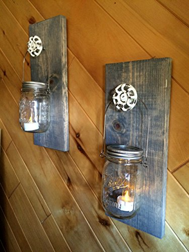 1 set of 2 Red Neck Sconces, Mason Jar Candle Holder, Scones, Wall hanging, home décor, Lighting.