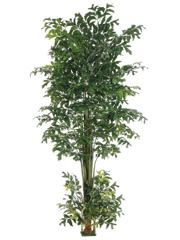 10' Fishtail Palm Tree w/1426 Leaves Square Base Green (Pack of 2)