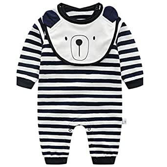 Fairy Baby Infant Baby Boy Girl 2pcs Outfit Cotton Sleeper Pajamas Striped Romper Size 3-6M (Black)