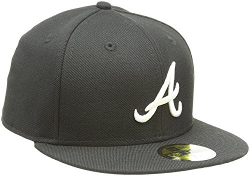 MLB Atlanta Braves Black with White 59FIFTY Fitted Cap, 7 ()