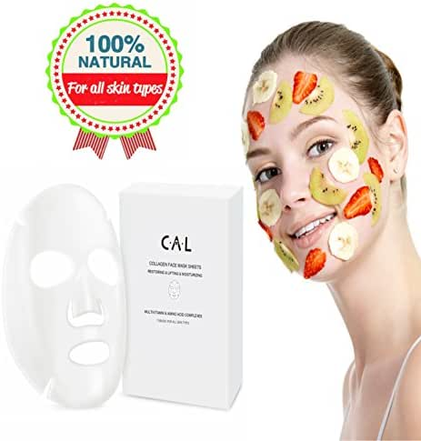 Face Mask Sheets (7 Korean, natural skin care facial masks) Lighten, Tone, and Tighten Skin | Nourishes the skin Whiten and Brighten | Balance Pigmentation & Dullness | Korean technology, by C.A.L