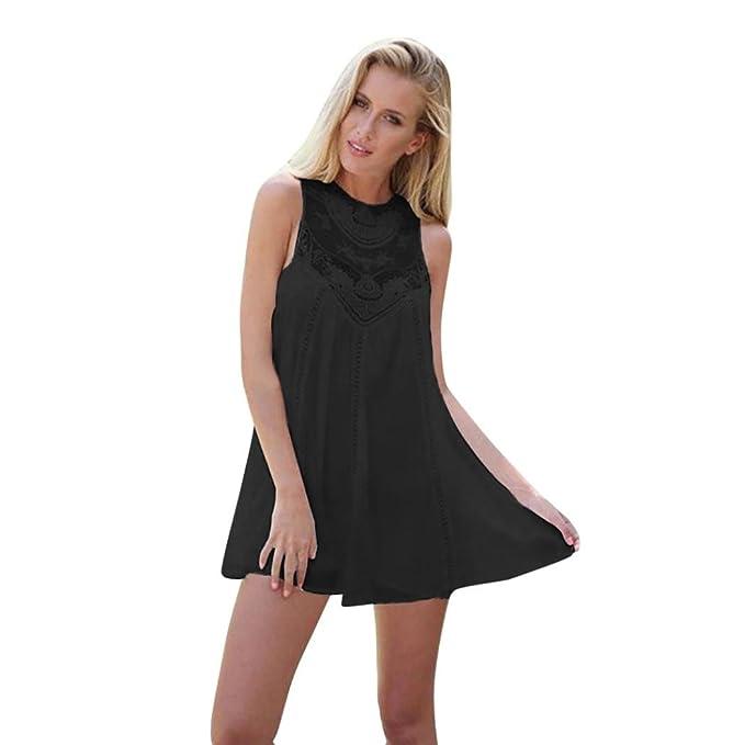 Amazon.com: kaifongfu Women Dress,Casual Solid Lace Stitching O-Neck Sleeveless Chiffon Mini Dress for Women: Clothing