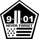 Never Forget Twin Towers 911 Decal Sticker Car Motorcycle Truck Bumper Window Laptop Wall Décor Size- 12 Inch Wide White Color