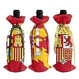 BLACK SP 3Pcs Christmas Wine Bottle Cover Spain Flag Set Gift Bags Tree Wine Bag