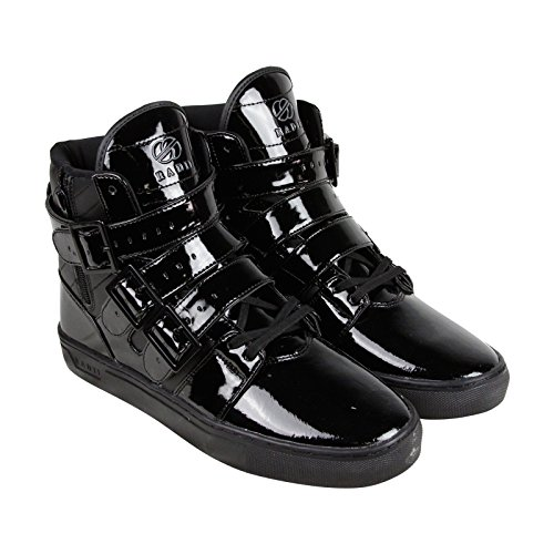 Radii Straight Jacket Mens Black Patent Leather High Top Sneakers Shoes 10.5