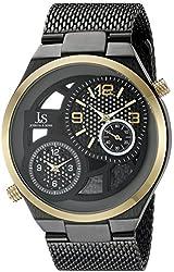 Joshua & Sons Men's JX111BKR Round Black, Gray and See Thru Dial Two Hand Quartz Gold Tone and Black Bracelet Watch
