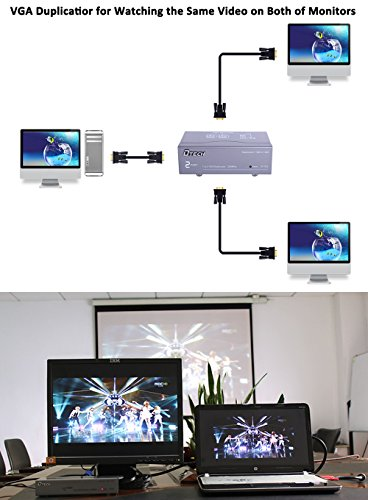 DTECH 2 Way Powered VGA Splitter Amplifier Box High Resolution 1080p SVGA Video 1 in 2 out 250 Mhz for 1 PC to Dual Monitor Computer by DTech (Image #6)