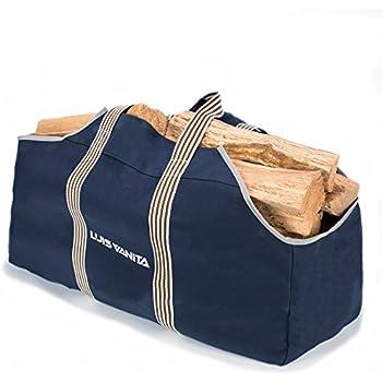 premium large capacity canvas firewood carrier u0026 log tote by luisvanita navy - Firewood Carrier