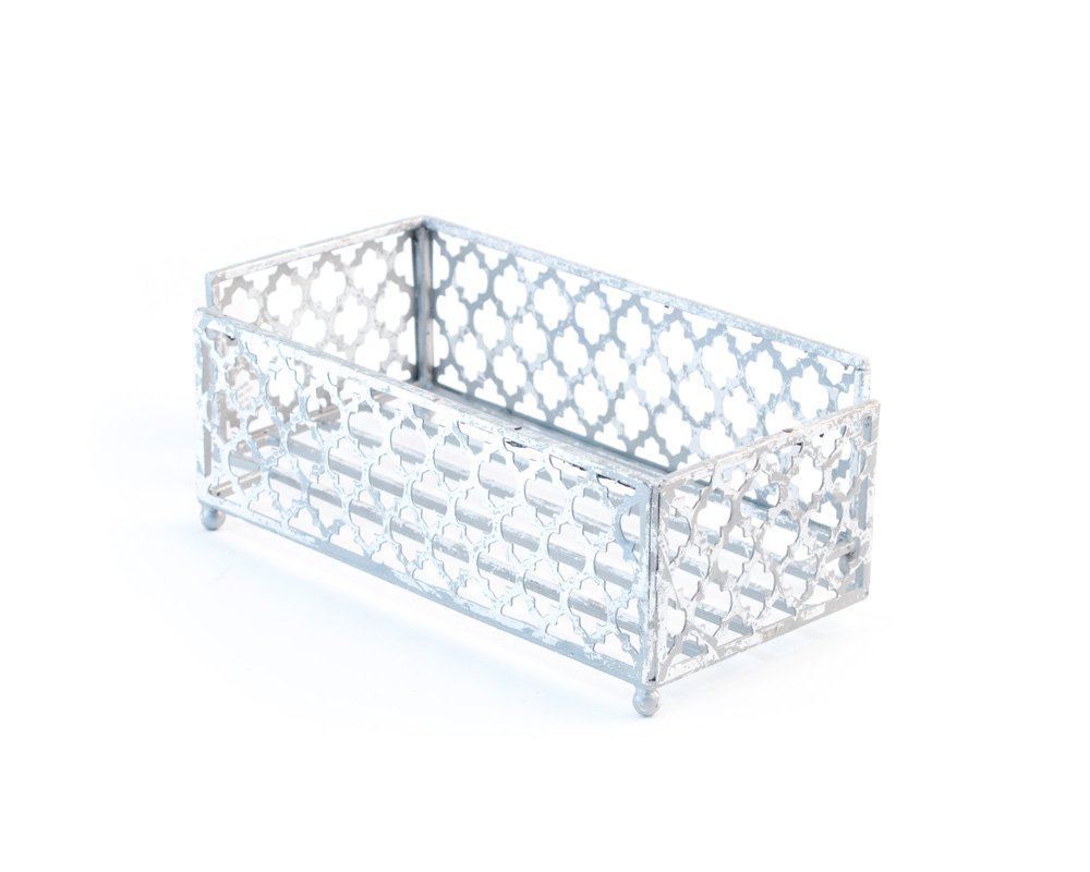 Boston International CAD18233 Celebrate the Home Tangier Trellis Guest Towel Holder Caddy, 8.75 x 4.75-Inches, Silver Foil by Boston International