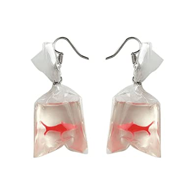 b459be5dbe394 GREEN FABWOOD Women Funny Goldfish Water Bag Shape Dangle Hook Earrings  Female Charm Jewelry