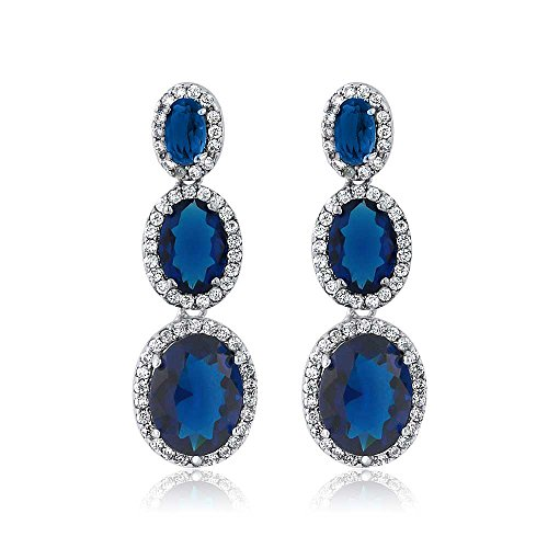 Oval Shape 3-Stone Blue Simulated Sapphire and Zirconia Dangle Chandelier - Stone Earrings Designer 3