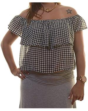 Guess Womens Short Sleeve Ruffled Crop Top Size XL