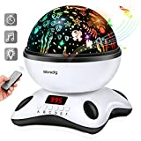 Music Light Projection lamp Remote Control and Timer Design, Built-in 12 Light Songs 360 Degree Rotating 8 Colorful Lights Romantic Room Children Kids Gift for Birthday,Parties,Bedroom (Black White)