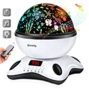 Baby Night Light Star Projector with Timer and Remote for Kids Built-in 12 Light Songs 360 Degree Rotating 8 Colorful Lights Romantic Night Lighting Lamp for Birthday,Parties,Bedroom (Black White)