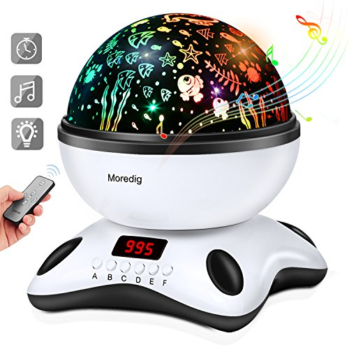 Baby Night Light Star Projector With Timer And Remote For Kids Built In 12 Light Songs 360 Degree Rotating 8 Colorful Lights Romantic Night Lighting Lamp For Birthday Parties Bedroom  Black White