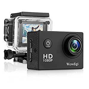 Wewdigi EV4000 Action Camera , 12MP 1080P 2 Inch LCD Screen , Waterproof Sports Cam 140 Degree Wide Angle Lens , 30m Sport Camera DV Camcorder With 9 Accessories Kit