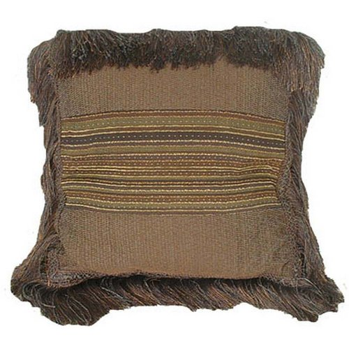 Rulu 84033 Decorative Square Pillow with Brush Fringe Texture, 16-Inch