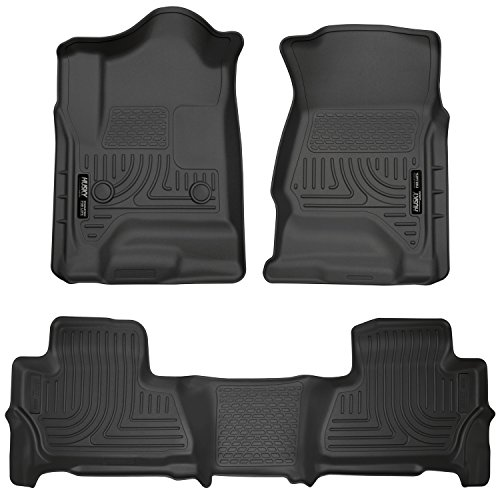 (Husky Liners 99201 Black Weatherbeater Front & 2nd Seat Floor Liners Fits 2015-2019 Chevrolet Tahoe, 2015-2019 GMC Yukon)