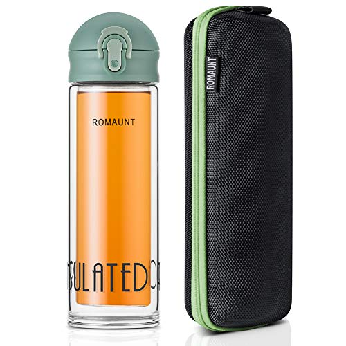 (Tea Tumbler Travel Mug ROMAUNT Tea Infuser Water Bottle with Stainless Steel Filter for Loose Leaf, Fruit Infusions, Cold Brew Coffee 12 Oz/330 Ml Double Wall Design (Green))