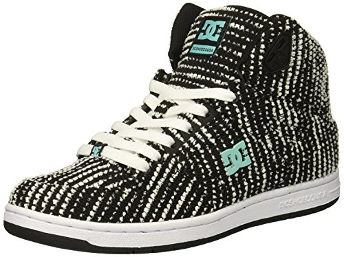 DC Women's Pure HIGH-TOP TX SE Skate Shoe, Charcoal/White, 8 Medium US
