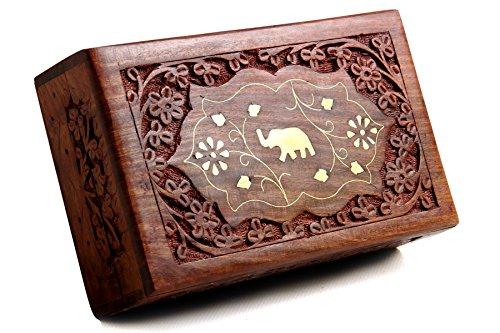 Brass Rectangular Watch (Handmade Wooden Jewelry Box / Ring Box / Watch Box / Keepsake Trinket Organiser (Design 3))