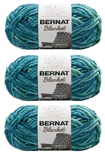 (Bernat Blanket Yarn (5.3 oz) - 3 Pack Bundle - Tide Pool)