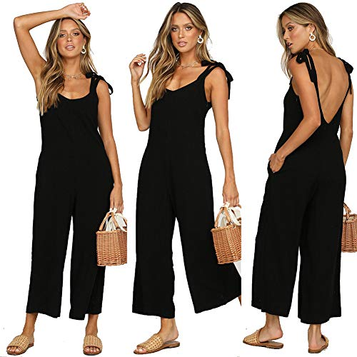 ALAIX Womens Cotton Casual Loose V Neck Sleeveless Bow Tie Shoulder Wide Leg Jumpsuits Rompers with Pocket