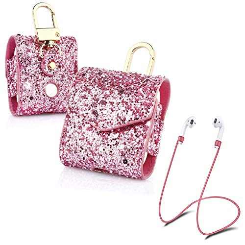 Newseego AirPods Case Glitter Leather Magnetic Protective Cover Carrying Pocket with Anti-Lost Strap/Keychain Bling Sparkle Sleeve Skins Case Compatible with Apple AirPods Wireless Earphone-Pink ()
