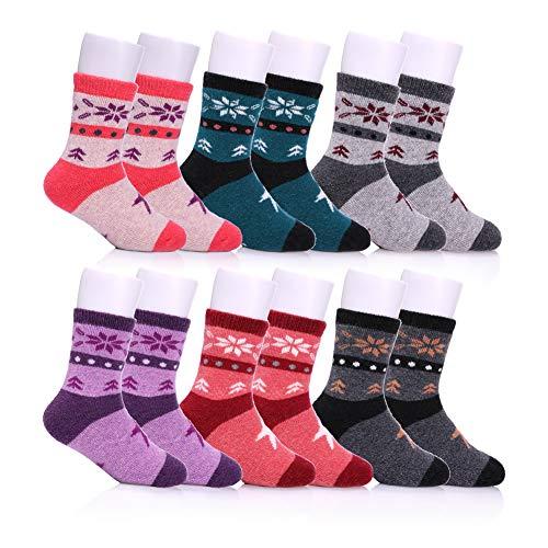 NOVCO Children's Winter Warm Wool Socks Kids Boys Girls Animal Socks 6 Pairs (6 Pairs Snowflake, 8-12 years) by NOVCO