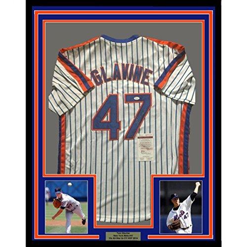 (Tom Glavine Autographed Jersey - FRAMED 33x42 NY Pinstripe COA - JSA Certified - Autographed MLB Jerseys)