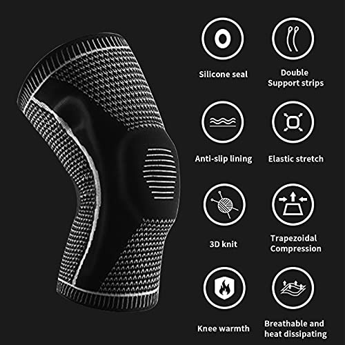 RYOQYUS Knee Brace,Knee Compression Sleeve Knee Support with Patella Gel Pad & Side Spring Stabilizers,Medical Knee Protector for Running Meniscus Tear Arthritis Joint Pain Relief Injury Recovery(L)