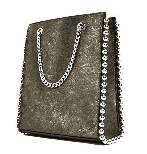 Mini Bolsas De Compras Bolsos De Hombro Bolso De Mujer Remaches Bolsos De Moda Bolsos De Cadena Elegantes SilverGrey